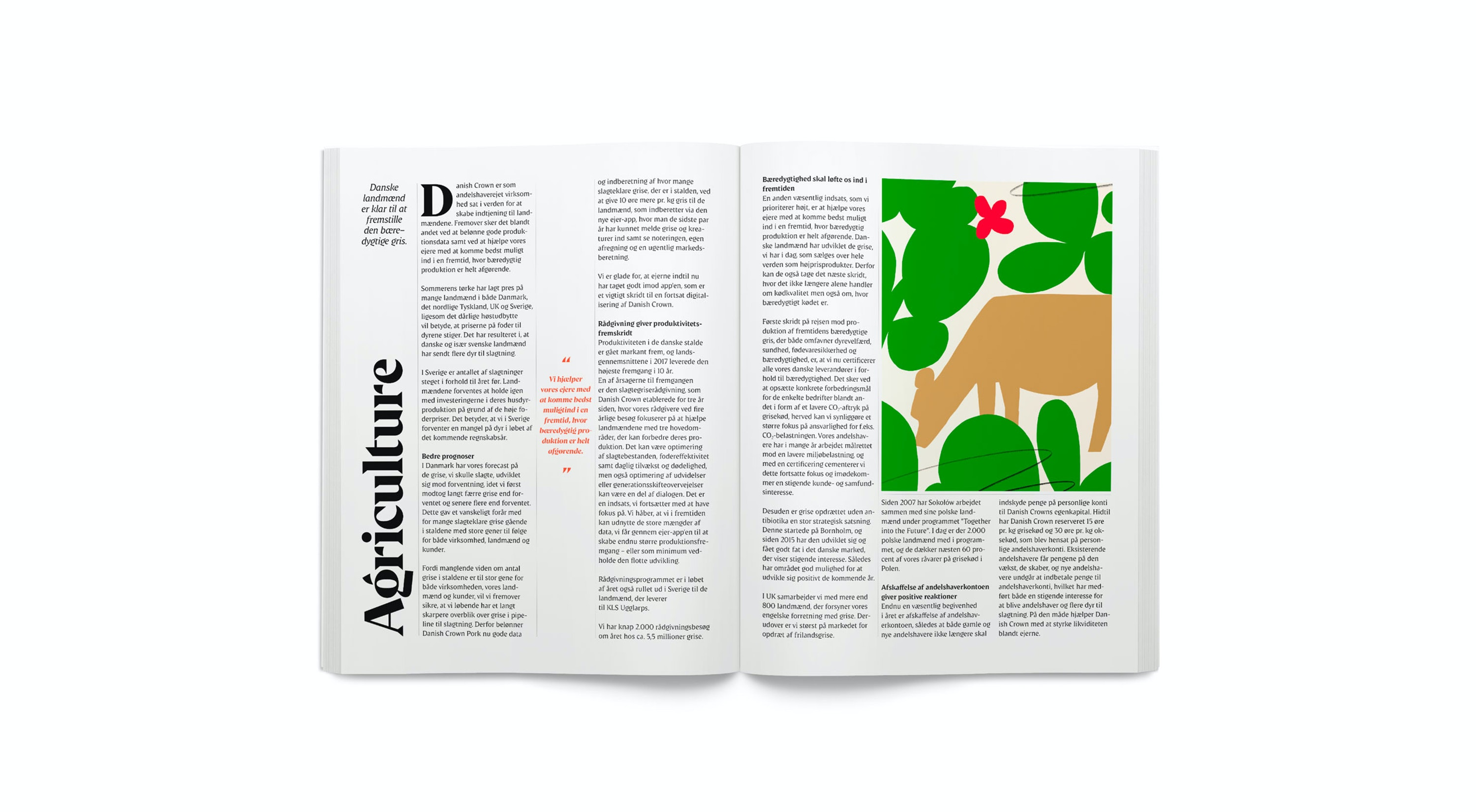open page with text and illustrative  of green trees and cow