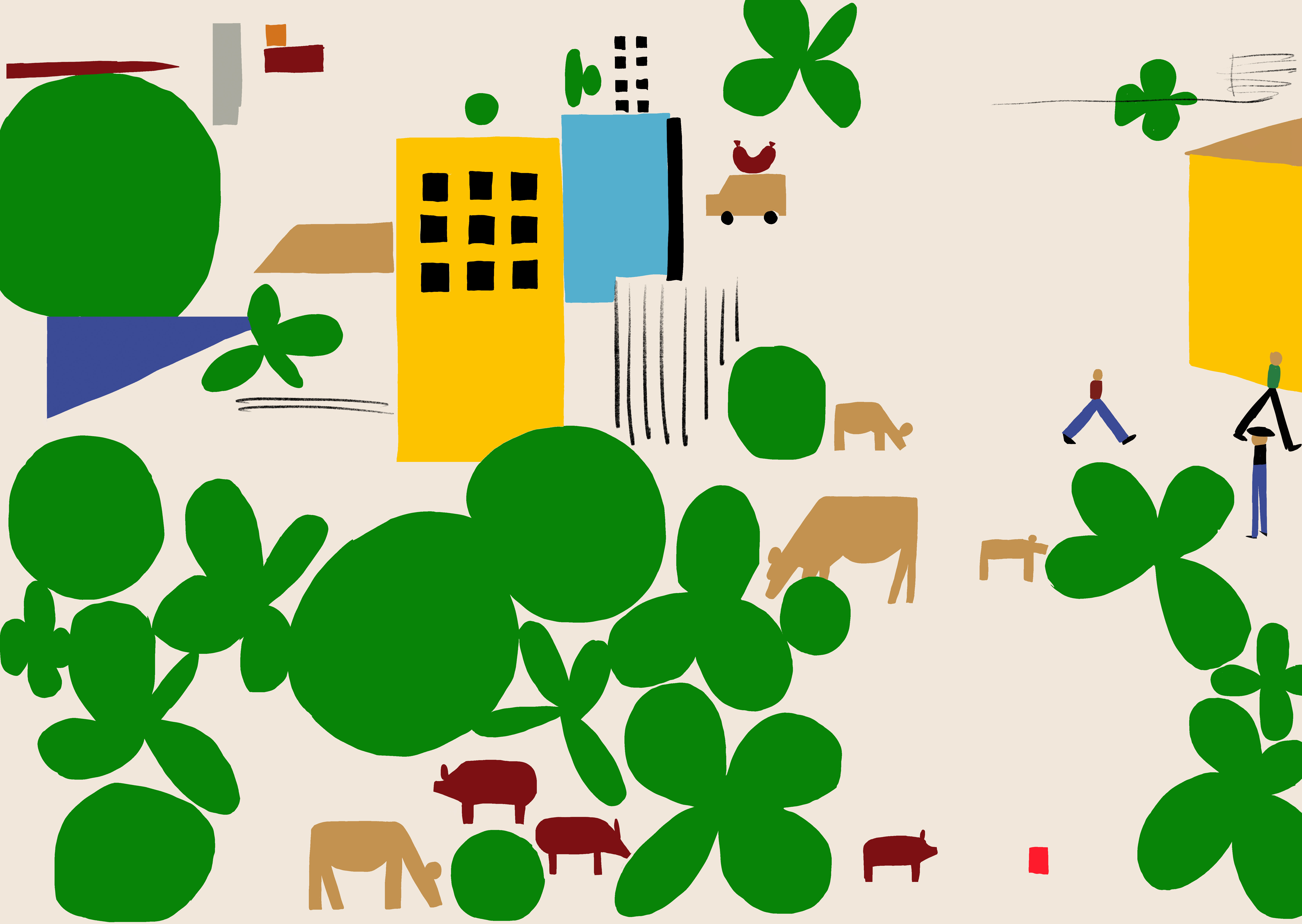 illustrative in different colours of trees, pigs, cows, houses and people