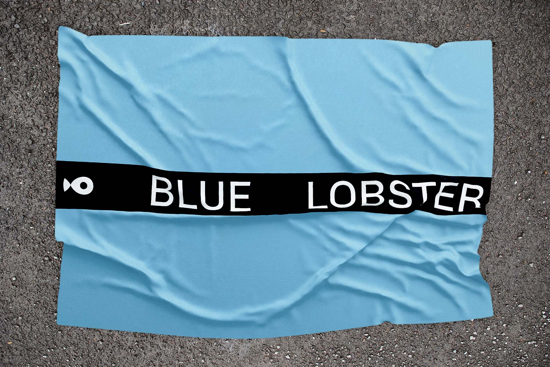 Blue flag with Black Blue Lobster logo and fish logo