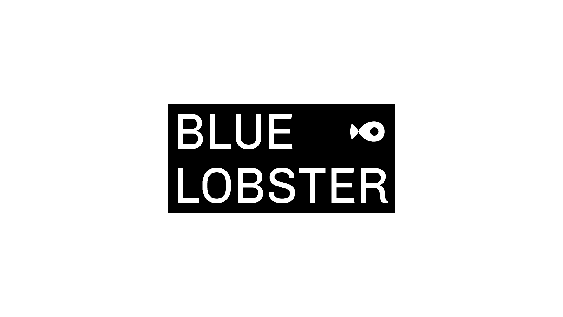 Black and white fish icon and wordmark saying 'BLUE LOBSTER'