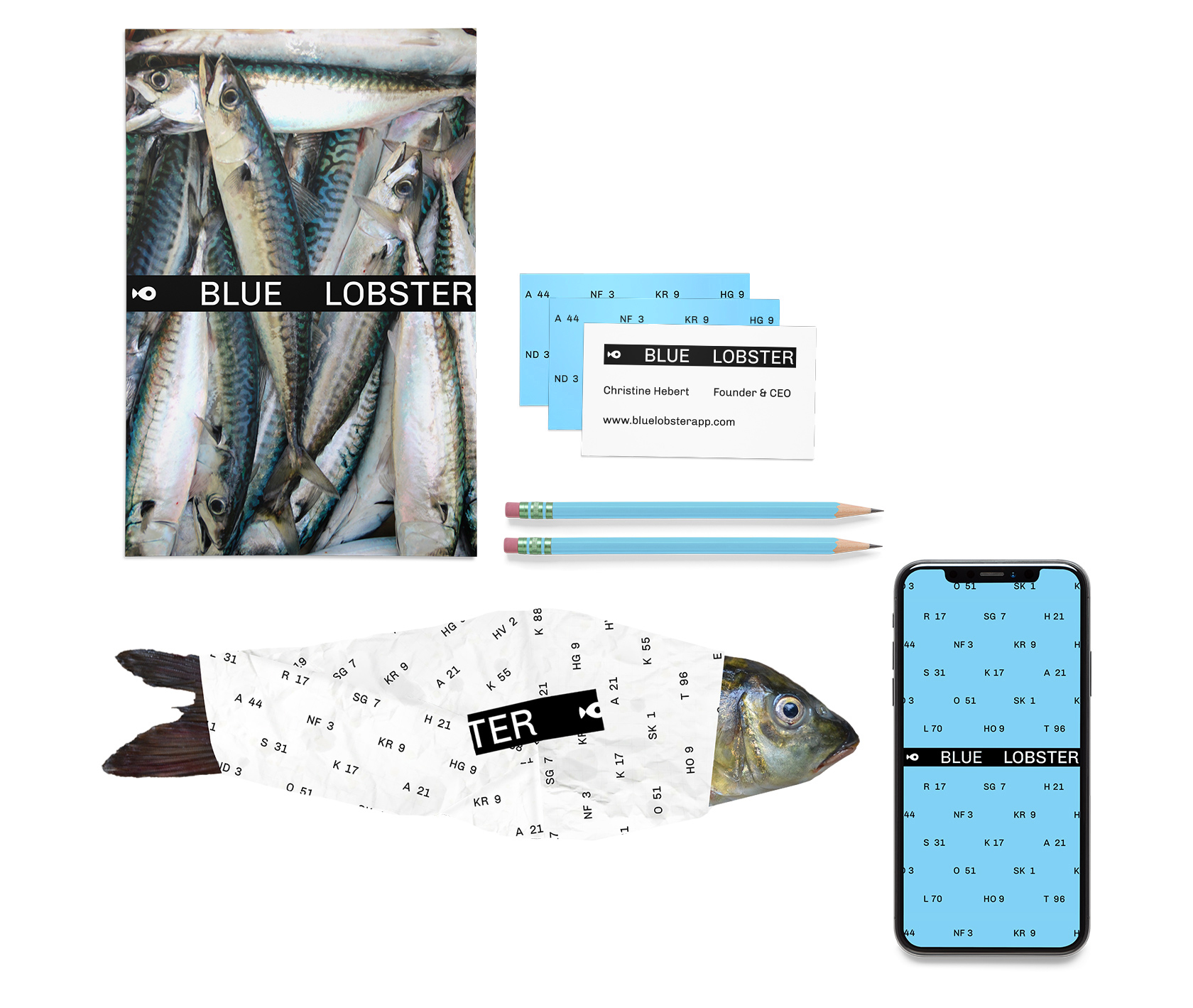 Blue Lobster poster, app, fish, pens and business cards