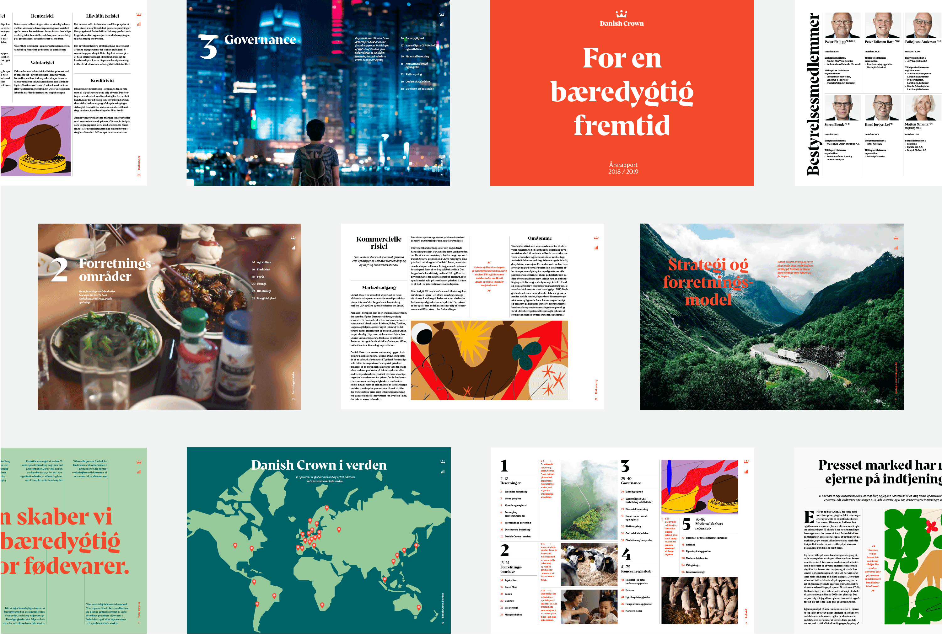 Open pages from annual reports by company Danish Crown