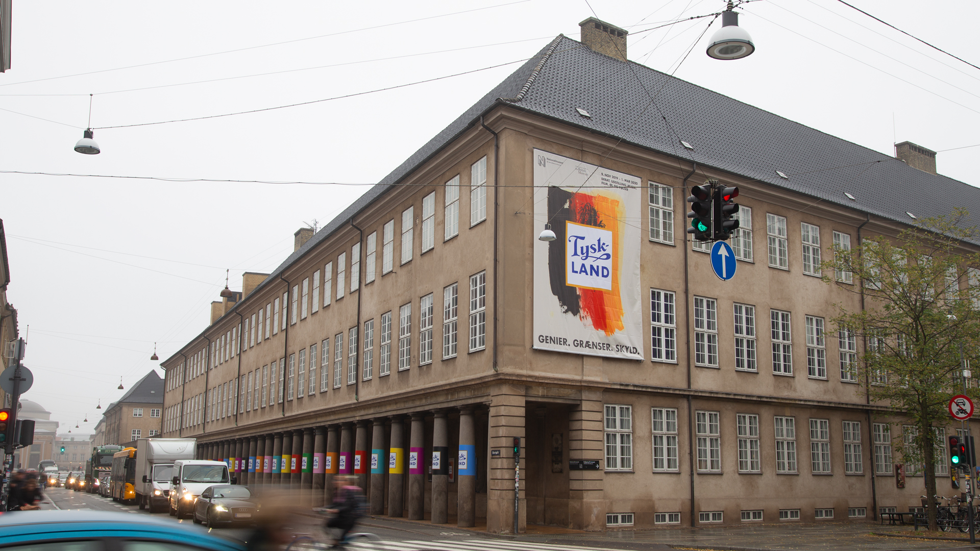 Building with huge  exhibition sign saying 'TYSKLAND'