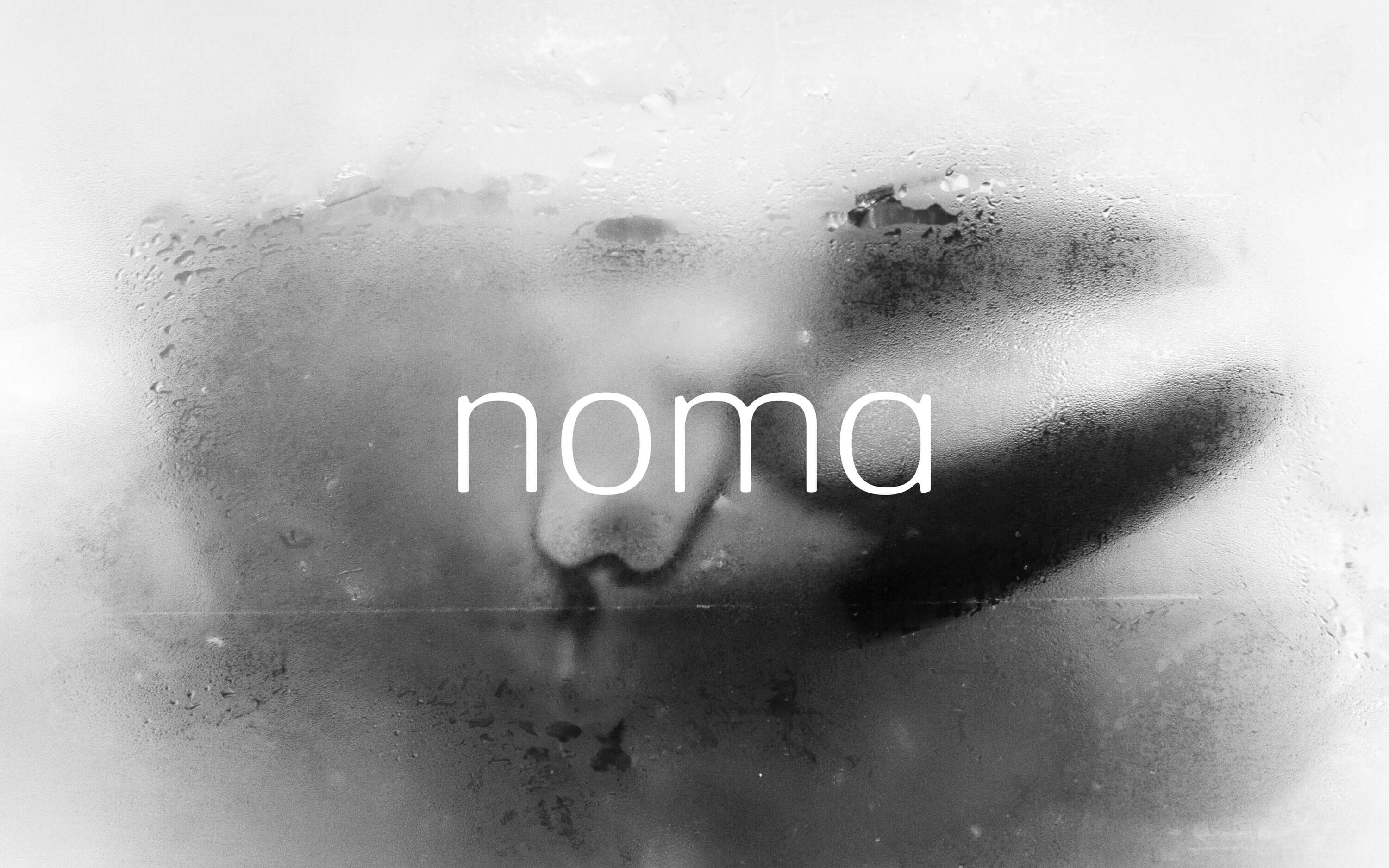 Black and white image of a lobster claw and white noma wordmark