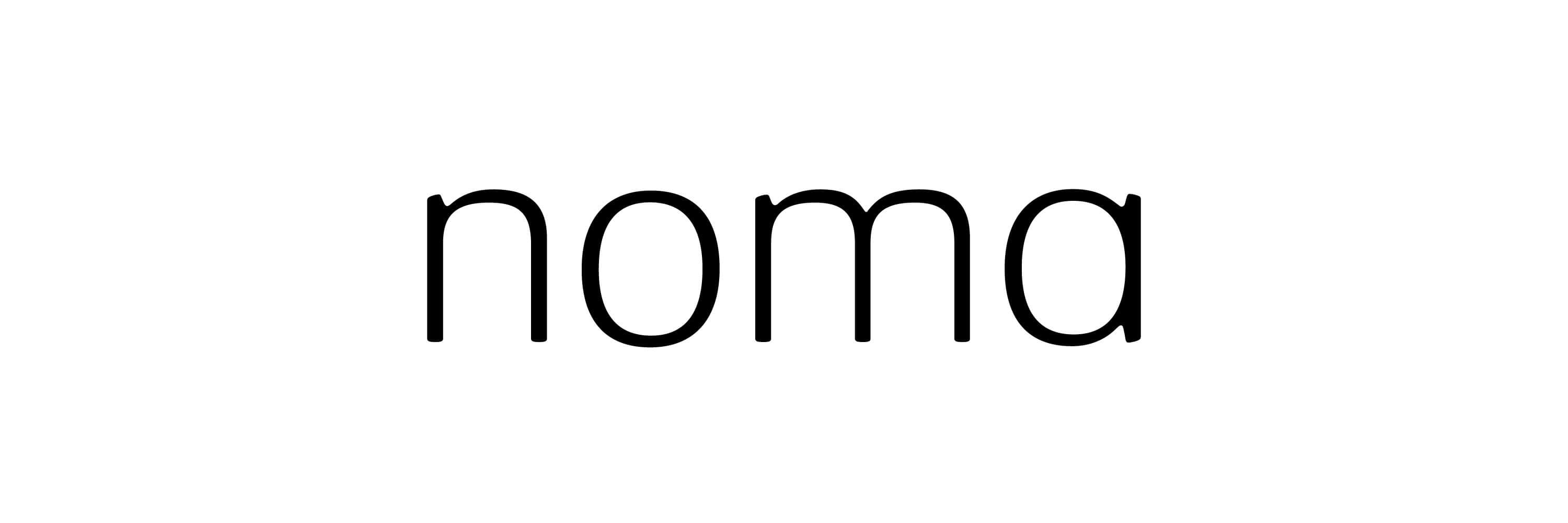 black noma wordmark om white background