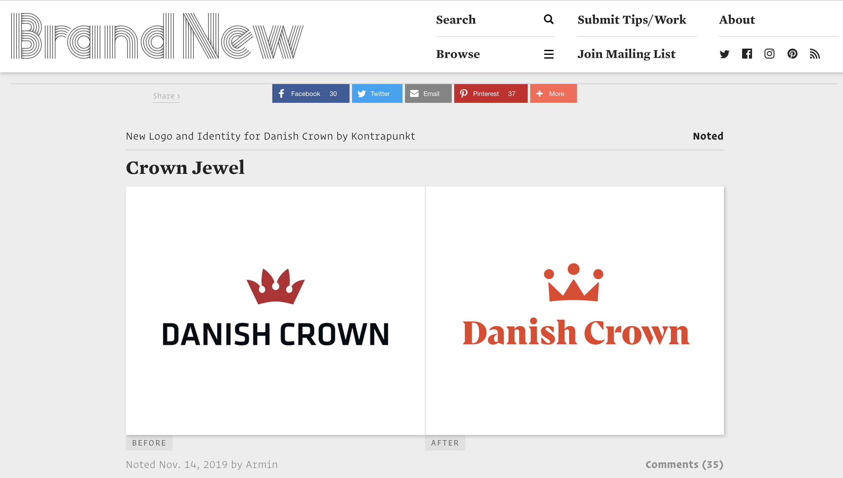 screenshot of the brand new website with Danish Crown old and new logo on front page