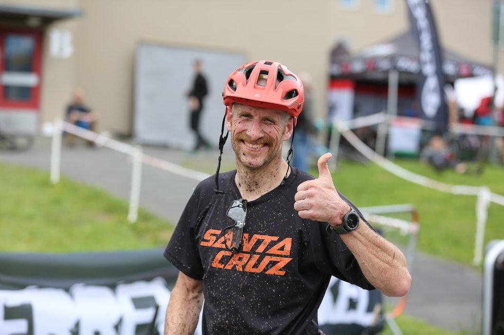 Are Tallaksrud - fast inventar og alltid glad syklist på Terrengsykkelrittet. Foto: Marius B. Wold