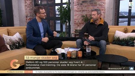 Fra studio hvor forfatter Geir Evensen ble intervjuet