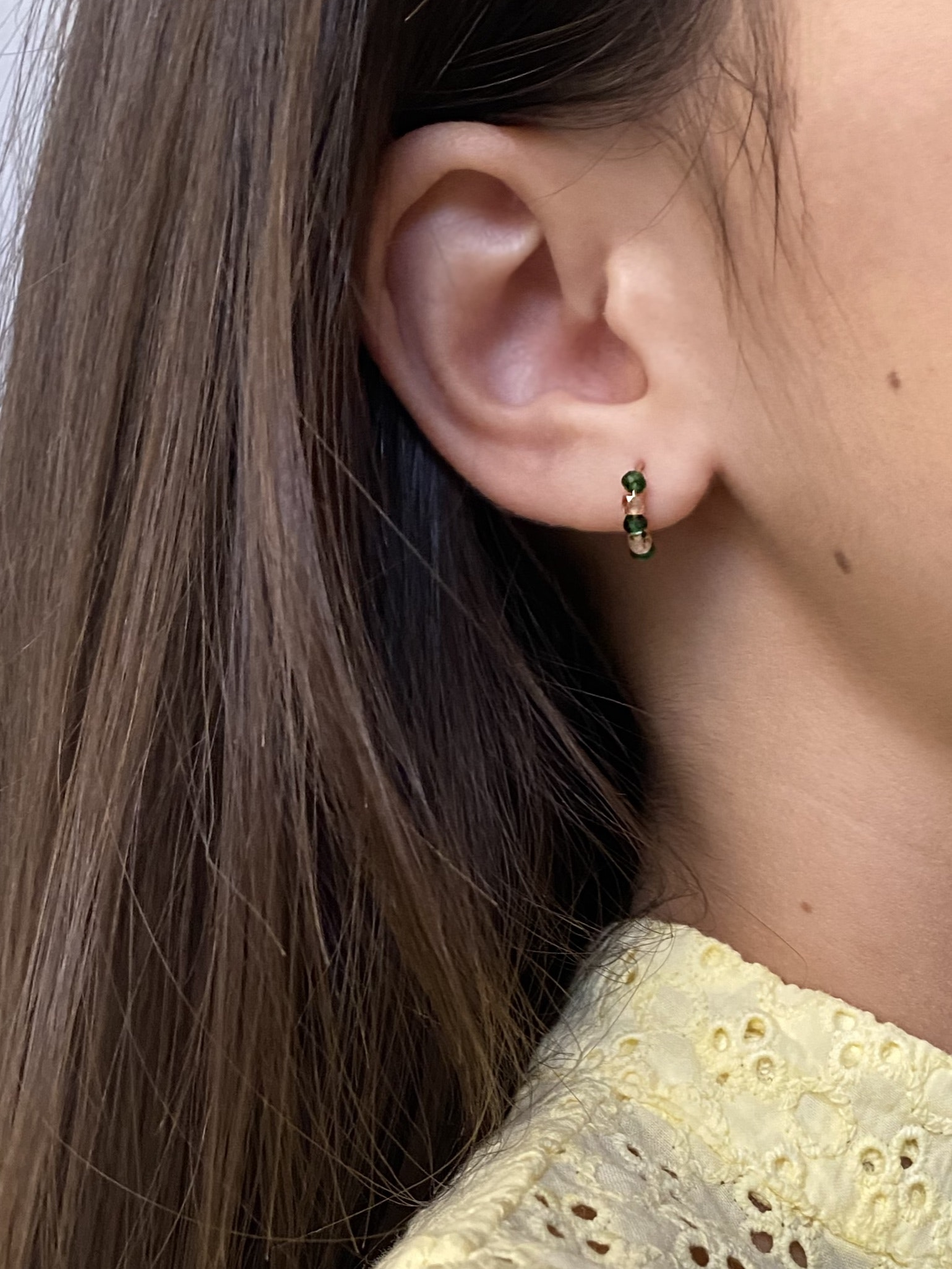 Margherita de Martino Norante - Tuttifrutti collection - 18kt gold and semi precious stones earrings - green and pink -portrait