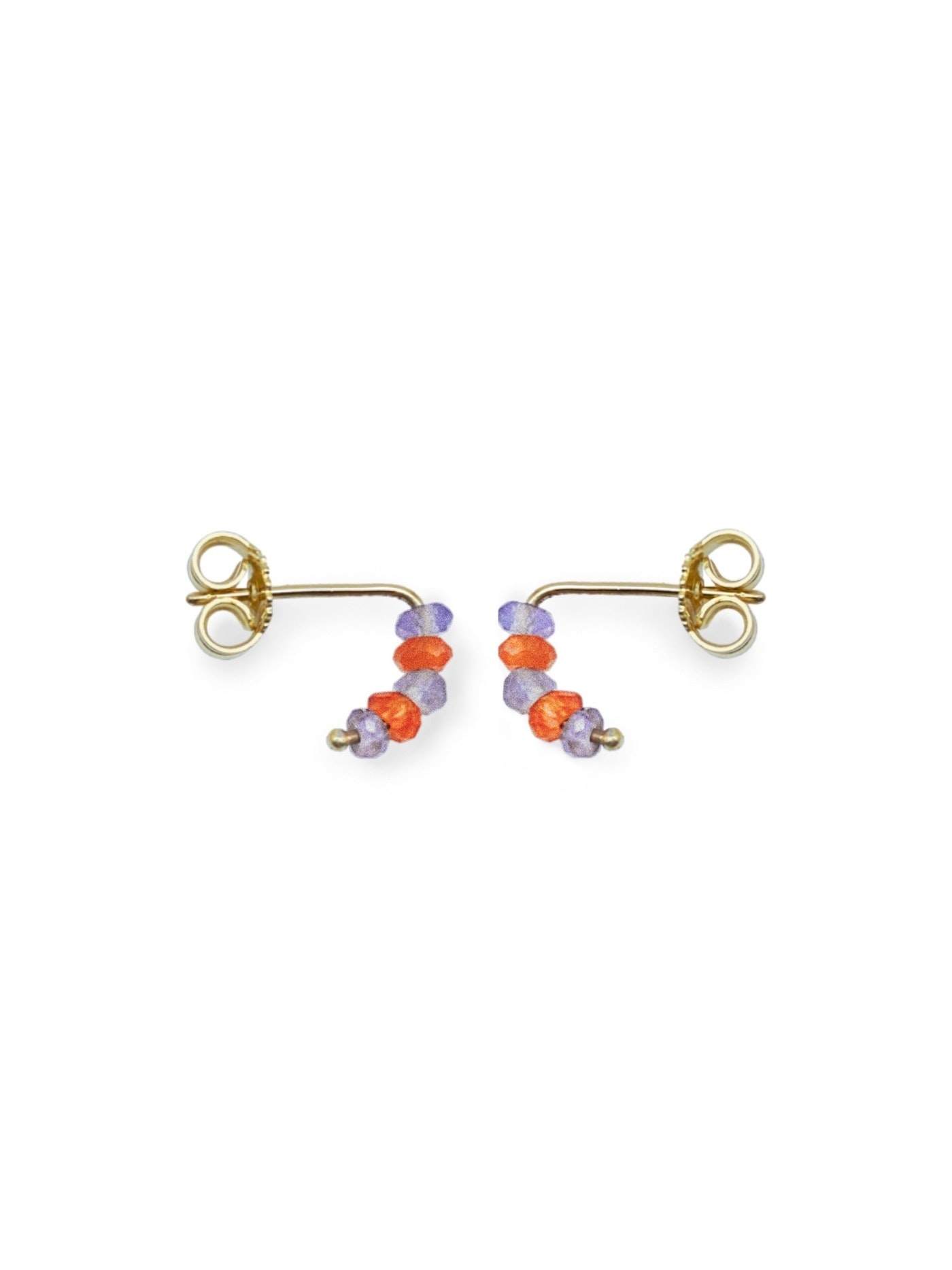 Tuttifrutti mini earrings 18kt gold and semiprecious stones- orange and lilac- made in Florence by Margherita de Martino Norante