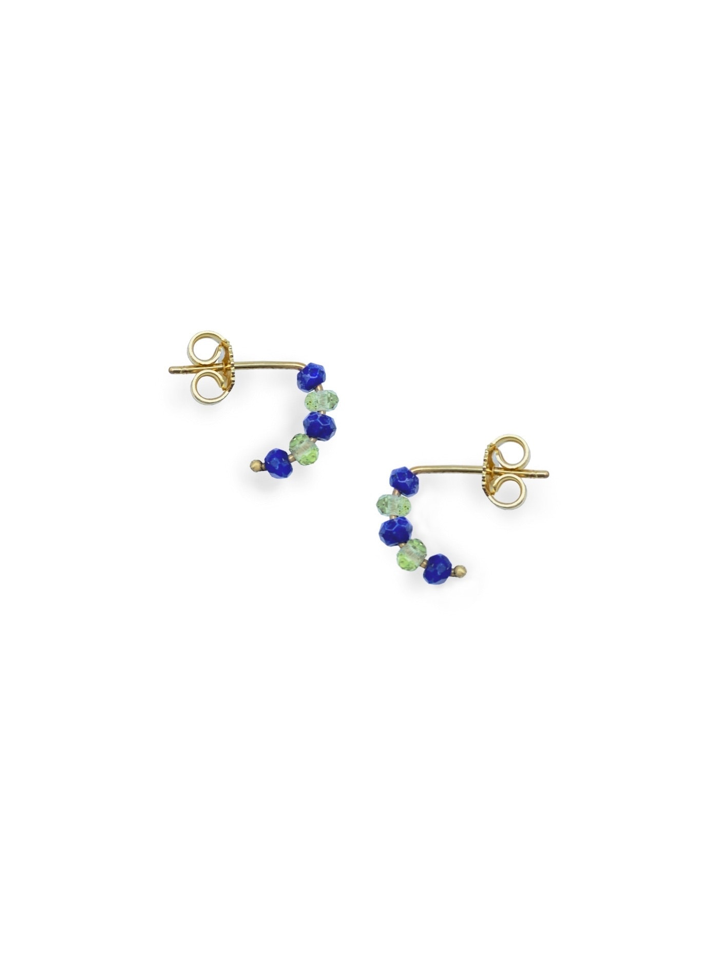 Tuttifrutti mini earrings 18kt gold and semiprecious stones- light green and blue- made in Florence by Margherita de Martino Norante
