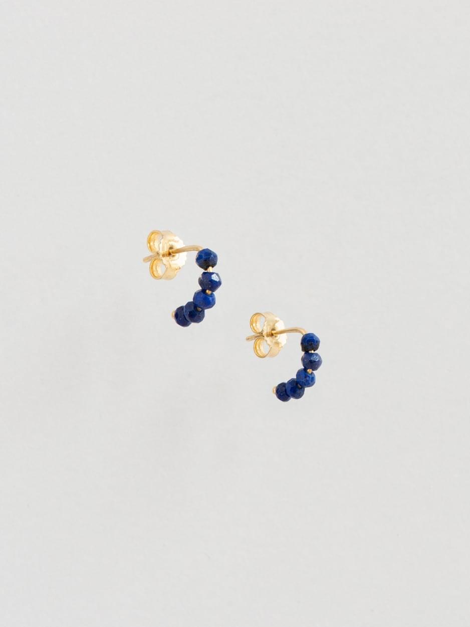 Tuttifrutti mini earrings 18kt gold and lapislazuli - made in Florence by Margherita de Martino Norante