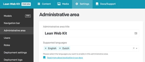 Supported languages input field with tags for English and Dutch