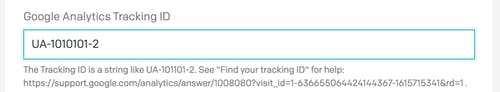 Form input field labeled Google Analytics Tracking ID