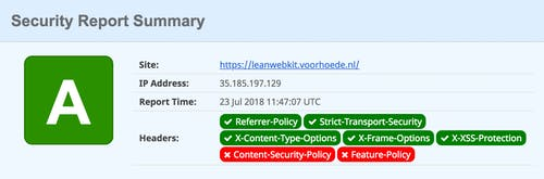 Security Report Summary for leanwebkit.voorhoede.nl on securityheaders.com with A rating