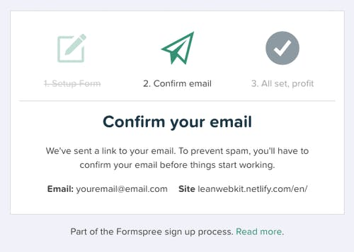 Confirm your email with Formspree