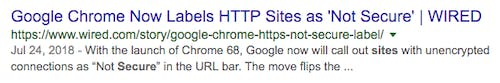 Search engine result with title and description