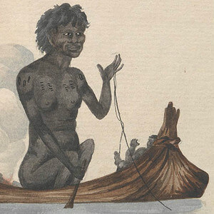 Aboriginal woman in canoe c1805. (Mitchell Library, State Library of NSW - PXB 513)