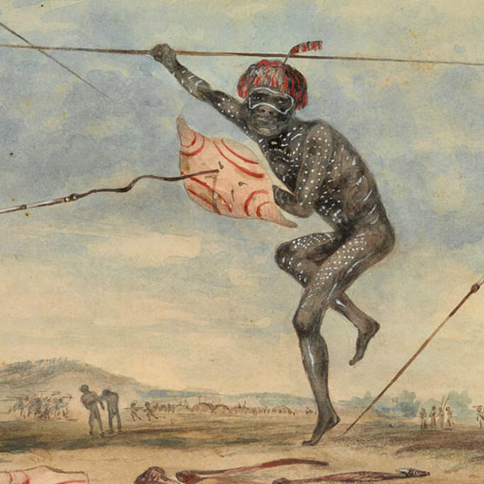 Aborigine defending himself against an attack by spears. (Mitchell Library, State Library of NSW)