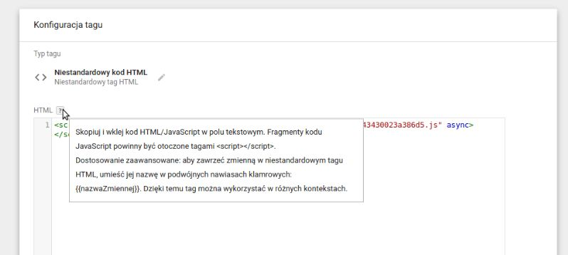 Integracja dla Google Tag Managera