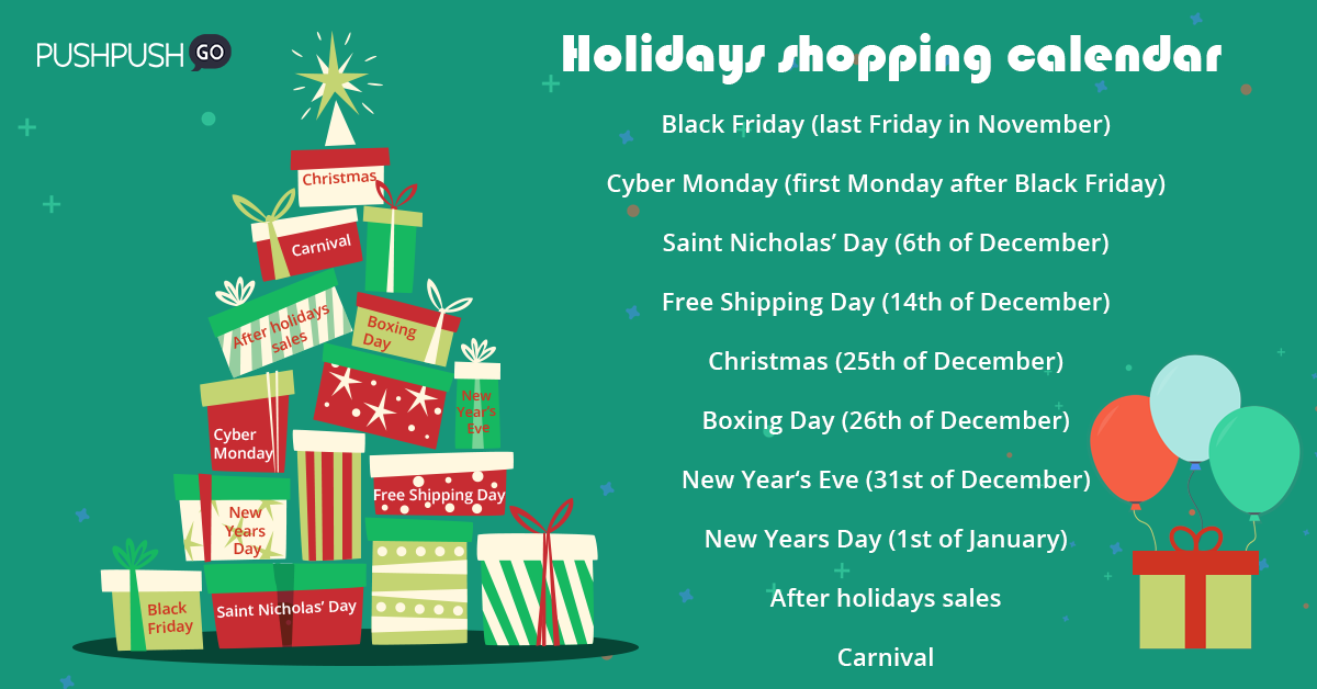 holidays shopping calendar