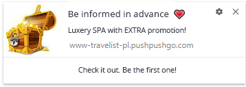 web push notification screenshot 4. Travelist