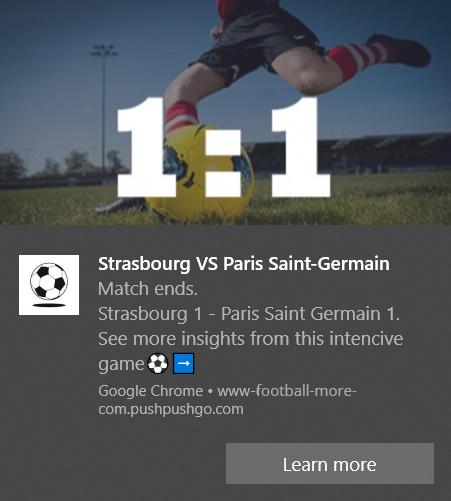 web push notification example - football score