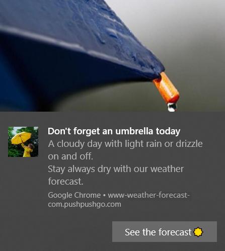 weather forecast - web push notification example