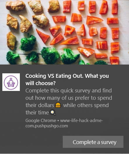 web push notification example with a survey