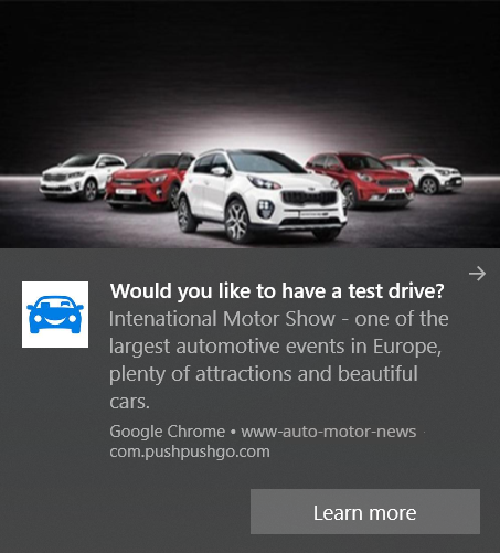 web push notification example - advertising of Motor Show