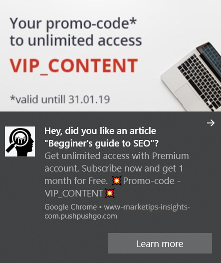 web push notification example - promo code for 1 month of Premium subscription