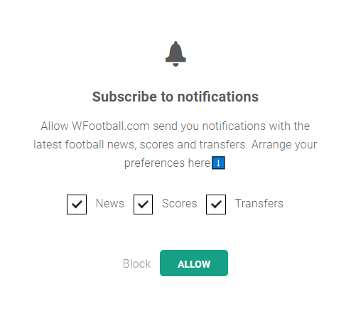preference center - web push notification subscription form