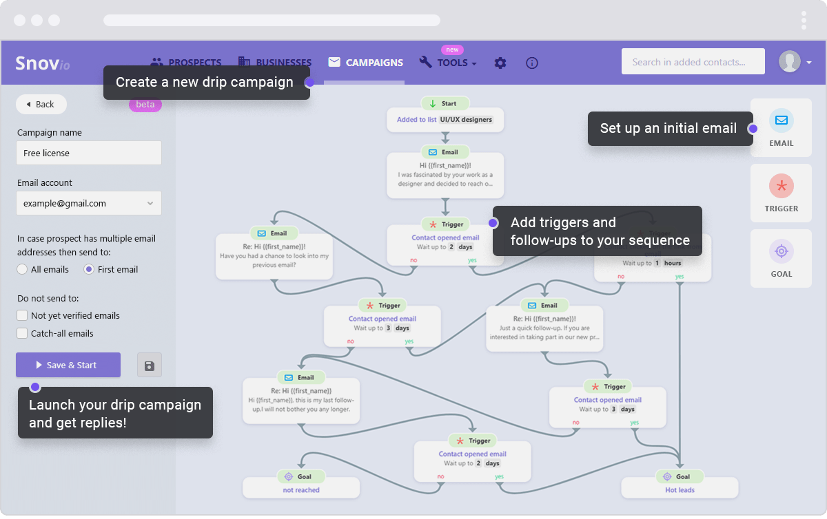 Snovio - marketing automation tool