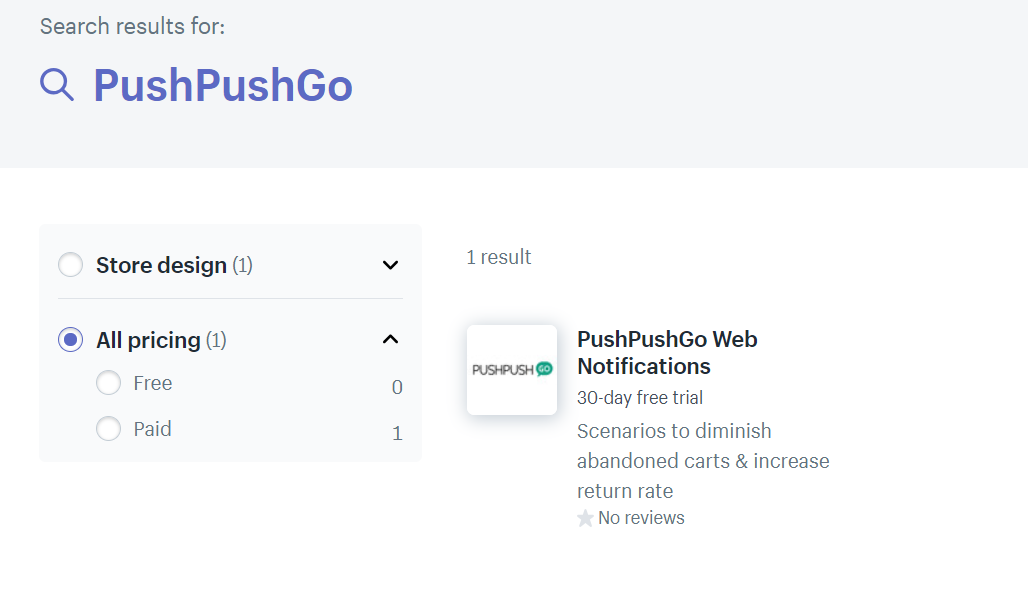 PushPushGo on Shopify search