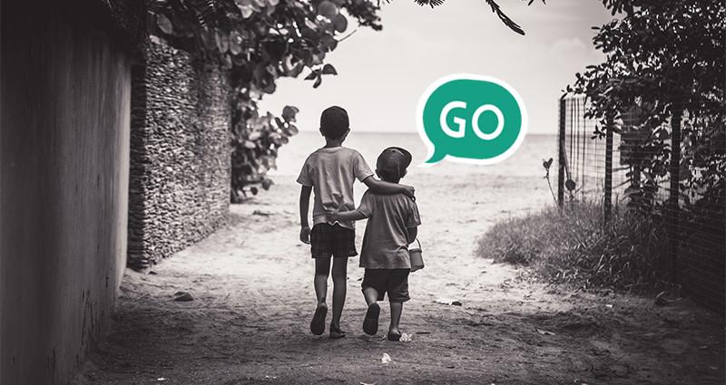 Two boys walking along the path. Cross-selling