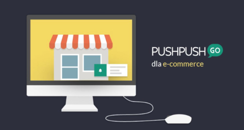 """Komputer z tapetą przedstawiającą sklep oraz napis """"PushPushGo dla e-commerce"""""""