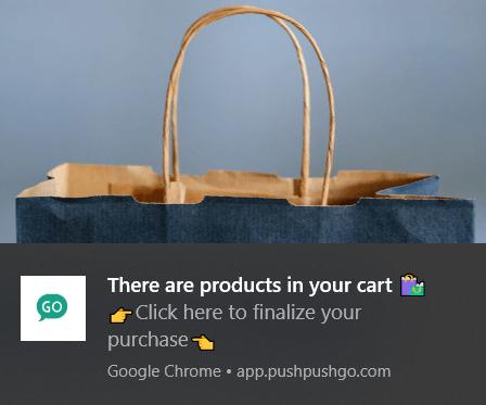 web push notification abandoned shopping cart