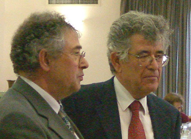 Dr. Hossain Danesh, Rector of Landegg Academy, and Dr. Moshe Sharon, holder of the Chair in Baha'i Studies at the Hebrew University, convenors of the conference on modern religions held at the Hebrew University on 17-21 December 2000.