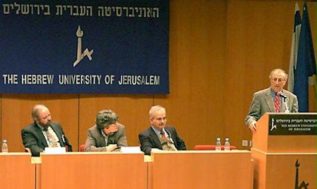 Dr. Stephen Lambden, Dr. Susan Maneck, Dr. Vahid Ra'fati and Dr. Amin Banani (left to right) participate in a panel discussion at a conference on modern religions held on 17-21 December 2000 at the Hebrew University in Jerusalem.