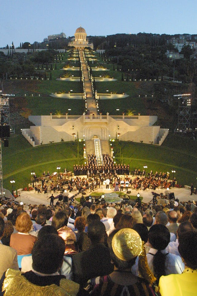 """The Terraces of the Shrine of the Bab illuminated at the climax of the """"Terraces of Light"""" oratorio."""