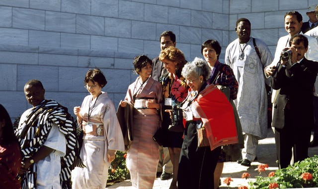Participants in the conference to inaugurate the International Teaching Centre building on their historic first ascent of the Terraces of the Shrine of the Bab on Mount Carmel on 14 January 2001.