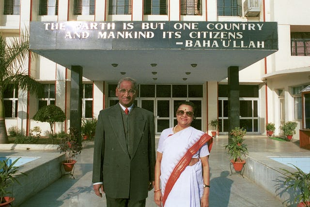 """Jagdish Gandhi and Bharti Gandhi, founders of the City Montessori School in Lucknow, India.