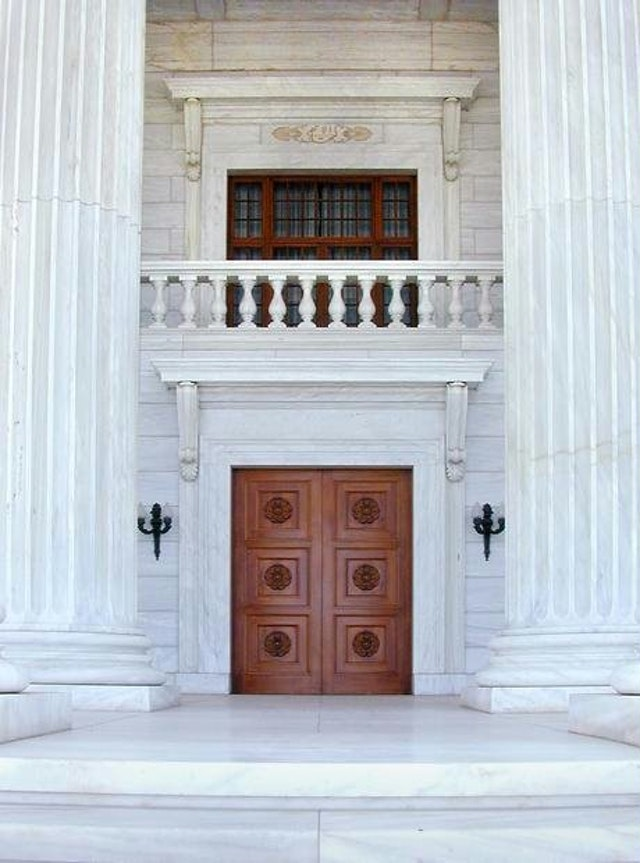 The entrance to the Seat of the Universal House of Justice, the home of the Baha'i Faith's international governing body, which will be elected this month by postal ballot by electors in 178 countries.