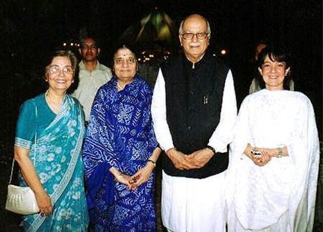 India's Deputy Prime Minister, Mr. Lal Krishna Advani and Mrs. Advani with (at left) Counsellor Zena Sorabjee and (far right) Ms. Naznene Rowhani, at the Baha'i House of Worship, New Delhi, India.