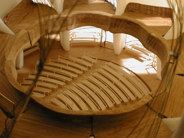 Inside a model of the Temple of Light.