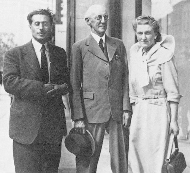 Ursula Newman (later Mrs. Samandari) in Dublin in 1950 with her future husband Dr. Mihdi Samandari (left) and George Townshend. (Photo: by permission of George Ronald, Publisher)