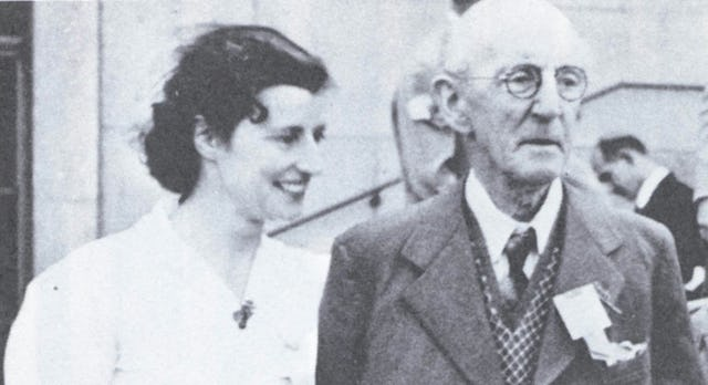 Una Townshend (later Dean) and her father, George Townshend, in Stockholm, 1953. (Photo courtesy of George Ronald, Publishers)