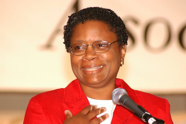 One of the speakers: Dr. June Thomas, professor of urban and regional planning at Michigan State University.
