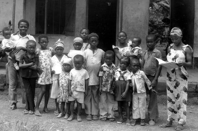 Baha'i children's class, Mamfe, 1980.