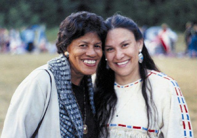 Ruth Pringle with a colleague, Jacqueline Left Hand Bull at a pow wow in Shawnigan Lake, British Columbia, Canada, 1991.